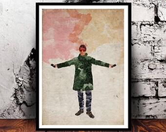 Liam Gallagher #1 Manchester Indie Britpop Music Oasis Beady Eye A4 print watercolour digital art wall art home decor watercolor smoke