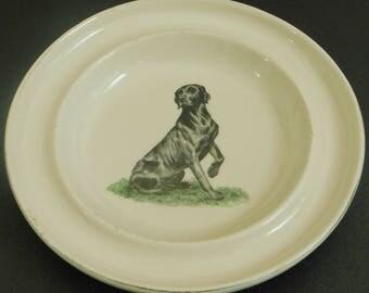 Vintage Black Labrador Round Dish, Delano Studios, Setauket, Long Island, NY, 1962, Collectible Canine Trinket Dish, Cigar Rest, Key Holder