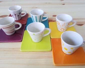 6  Designer Multi Colored Varied Pattern Espresso Cups and Saucers - Distributed by Unigro Belgium 1970s