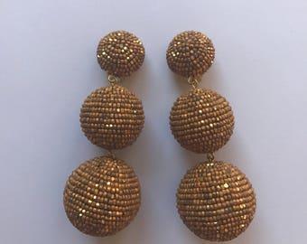 Three ball style Beaded Earrings clip-on les bonbons earrings