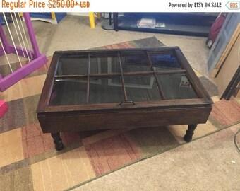 ON SALE Military Display Table   Rustic Coffee Table   Shadow Box Coffee  Table   Window