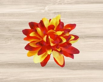 Red and Yellow Dahlia Flower Hair Clip