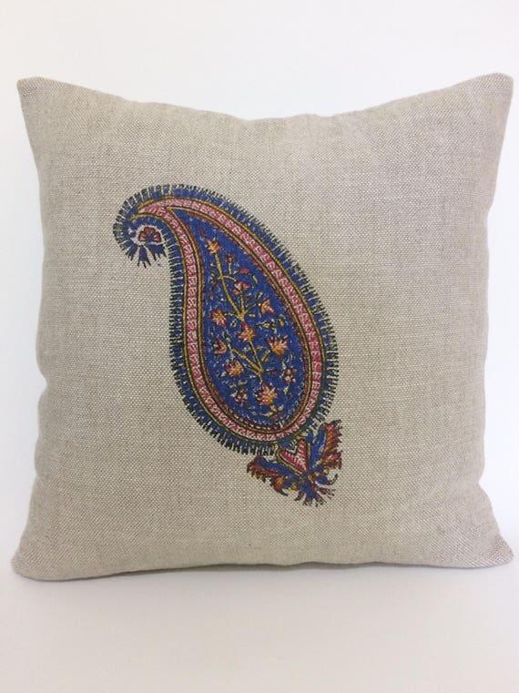 Paisley pillows | linen pillow | traditional block printed paisley design | home decor | FARMHOUSE PILLOWS | gift idea