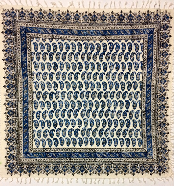 """Magnifcent oriental pattern tapestry art, blue tablecloth , paisley design with natural colour 39"""" inches"""