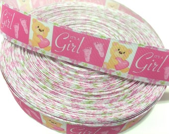 "1"" its a girl Ribbon, Baby shower Ribbon, Baby girl ribbon, Its a girls grosgrain Ribbon, Baby Shower Decor, Baby shower party"