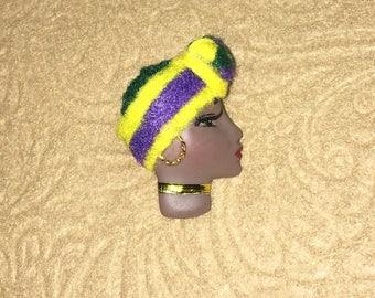 Cajun, African American Lady Face Pin