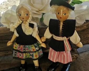 Wood polish dolls/vintage dolls/vintage wood dolls/50's polish dolls/collectible dolls/polish couple dolls/collectibles/souviner dolls