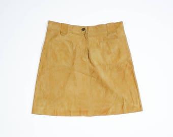 SALVATORE FERRAGAMO - Leather chamois effect skirt