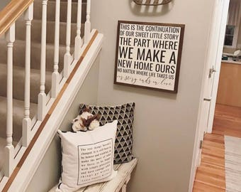 """Our Story Ends in Love 18""""x18"""" wood sign 