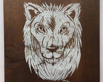 9x10 Lion Print (walnut stain/white paint)