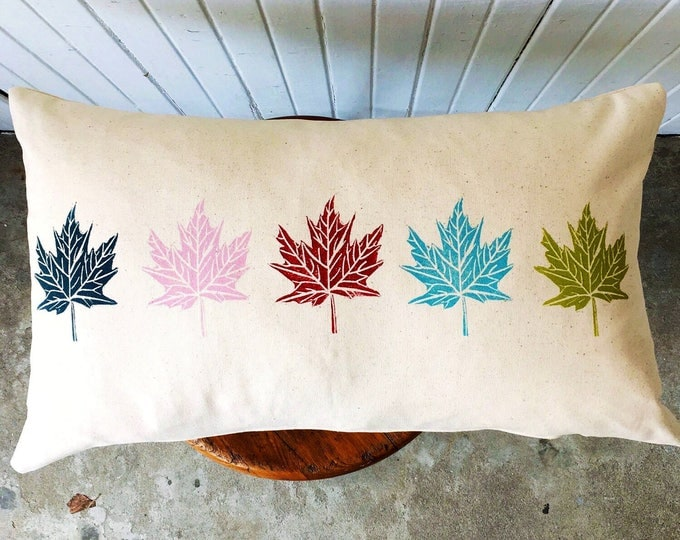 Organic canvas pillow cover - Maple leaves in multi
