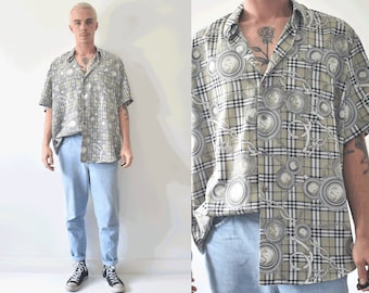 Versace Style Plaid And Chains Button Up Vintage Shirt