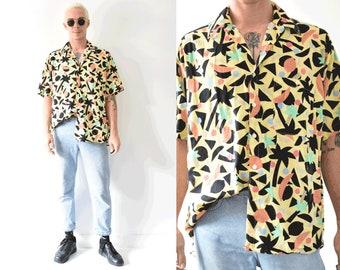 Modern Basic Tropical Fruits Pastel Button Up Short Sleeve Summer Shirt