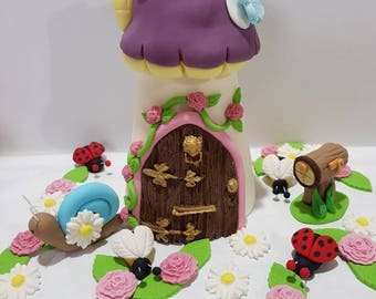 Fairy House Cake Topper and Letterbox Fondant Birthday and Fairy Garden Set