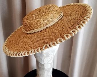 Vintage, 1940's 1950's, Jeanne Tete, Braided, Straw, Metallic, Wide Brim, New Look, Cartwheel, Hat