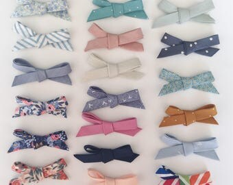 SET of Fabric Bows/ Nylon Baby Headband/ School Girl Bow Hair Clip/ Floral Bow/ Rifle Paper Co Fabric/ Hand Tied Bows/ Newborn Photo Prop