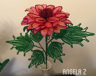 French Beaded Dahlia with leaves