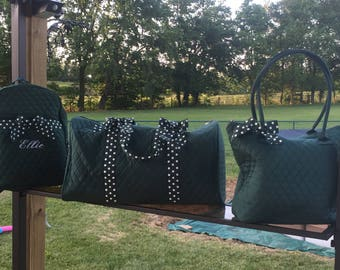 Hunter Green Quilted Bags, Embroidered