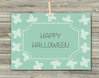 Halloween Ghost, DIGITAL CARD, Happy Halloween, Greeting Card, Download Card, Printable Card, Halloween Celebration, Ghost Print Art