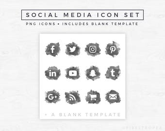 Social Media Icons // Watercolor Icons, Blog Graphics, Icon Pack, Social Media Clipart, Blogger Graphics, Blogger Icons [Instant Download]