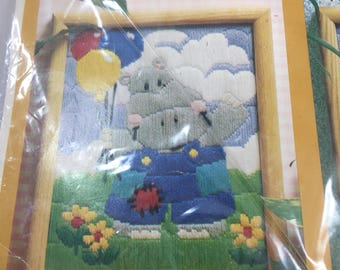 Vintage Harry the Hippo Creative Circle 1418 Crewel Embroidery Kit by Molly Fleming - Great for nursery decor!