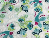 Bloom Main in Teal from the Flit and Bloom Collection by Patty Young for Riley Blake, Choose the Cut, Hummingbird