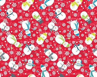 Sale Snowman in Red from the Mulberry Lane Collection by Cherry Guidry for Contempo Studios, Christmas Fabric, Winter Fabric