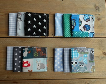 Handkerchiefs-handkerchiefs-Zero waste-washable-grey-blue-green-animals-owls