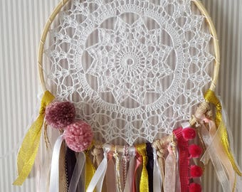 Dream Catcher,  pink and gold dreamcatcher, girl's room decor