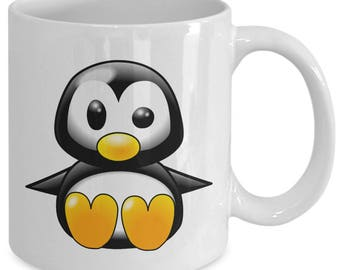 CUTE BABY PENGUIN Mug - Adorable Penguin Lover Gift - Big Image! - 11 oz white coffee tea cup