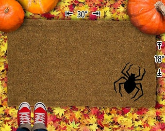 Spider Halloween Coir Doormat - 18x30 - Welcome Mat - House Warming - Mud Room - Gift - Custom