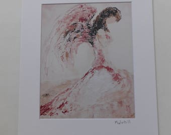 Pink Angel Art, Matted Angel Print, Angel Wings, Guardian Angel, Grief Angel, Angel Wings, Christian Gift, Gift for Her, Mother's Day Gift
