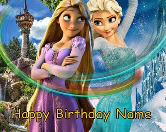 Frozen Elsa and Tangled Rapunzel Princess Edible Image Cake Topper Personalized Birthday 1/4 Sheet