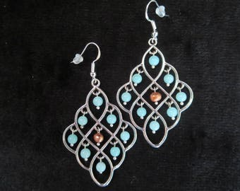 diamond earrings with jade beads and freshwater pearls