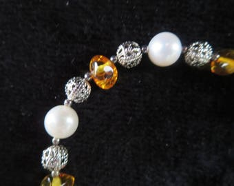filigree with pearls and amber bracelet