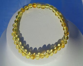 100% NATURAL High Quality BALTIC AMBER Round Beads Bracelet For Adults Sunshine Lemon 2.6 grams