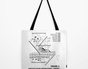 Chicago O'Hare International Airport (ORD) Chart - Tote Bag