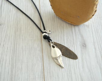 Black Leather shark tooth pendant necklace, bohemian men unisex necklace, leather man necklace, native american jewelry, cowboy necklace