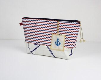 "Kit ""Ahoy Ahoy sailor 2"" cotton coated cotton red blue ripples"