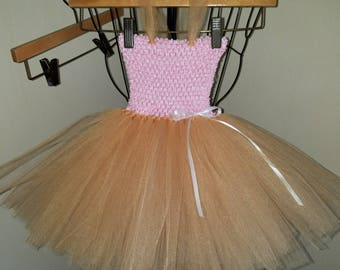 Gold and pink tulle dress