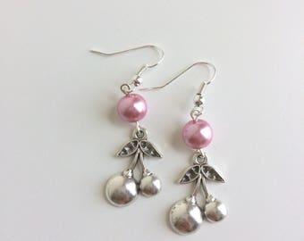 Pink pearls and cherry earrings