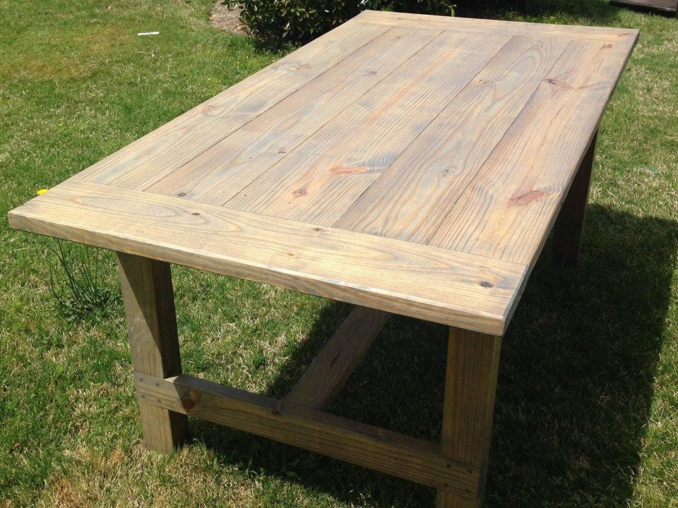 Farmhouse table farm table harvest table rustic dining for Solid wood farmhouse table