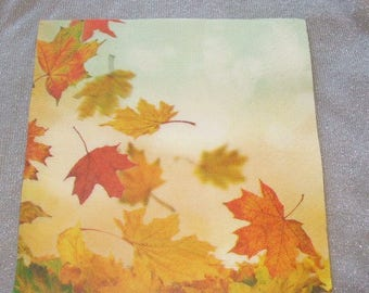 Set of 20 paper fairly thick towels - autumn leaves - 38 cm x 38 cm - Table Decoration / Collage