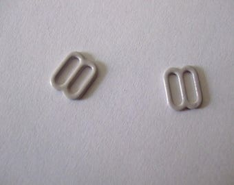 LOT 2 fasteners 8 metal taupe (1 cm x 0.9 cm) for bra straps