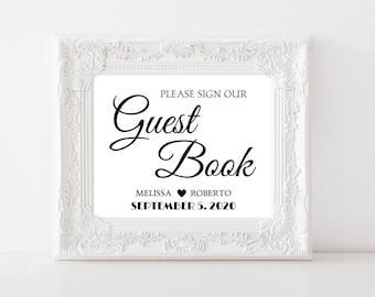 Elegant Wedding Guest Book Sign DIY Wedding Printable Please Sign Our Guest Book Wedding Signage Customized #CWS304