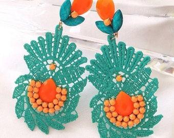 Big Earrings, Turquoise Drop Earrings, Chandelier Earrings, Long Fashion Earrings, Dangle Earrings, Bohemian Earrings, Boho chic Earrings