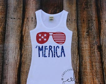 ON SALE Merica Tank Top - Merica Shirt - Girls 4th of July Shirt - Girls Merica Shirt - Kids Merica Shirt - 4th Of July Shirt - Patriotic Ta