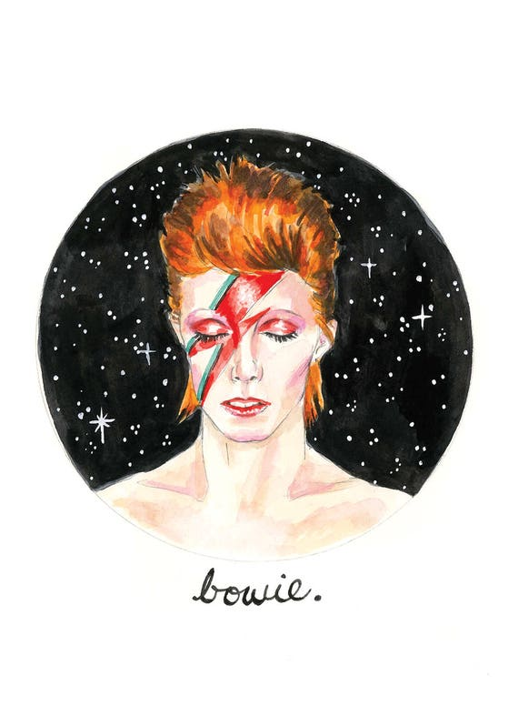 David Bowie Watercolor Illustration Celebrity Art Print 5x7 or Original 8x10