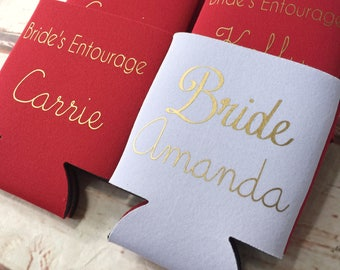 Bachelorette Party Favors - Bachelorette Can Coolers - Wedding Favors - Personalized Bridesmaid Gift  - Bachelorette Party