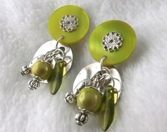 Earring Clip Dinard green (made in France)